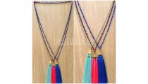 3color triangle chrome tassel necklaces beads crystal