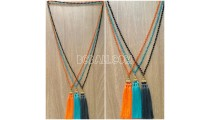 3color triangle chrome tassel necklaces beads crystal bali
