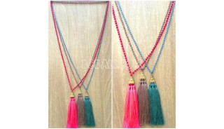 3color triangle chrome tassels necklaces bead crystal bali