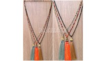 3color tassel necklaces bead crystal design Chrome