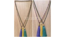 3color triangle chrome tassels necklaces bead crystals