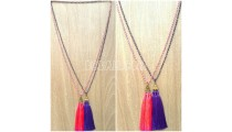 3color triangle chrome tassels necklaces bead crystal