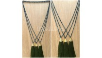 abalone bead strand crystal pendant tassel necklaces
