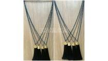 abalone crystal bead necklace tassel pendant black