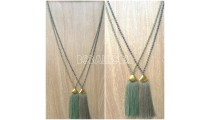 bali crystal bead pendant necklaces tassels 3colors
