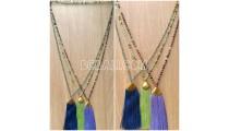 beads tassels necklaces chrome pendant 3 color