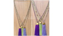 beads tassels necklaces chrome pendant 3color