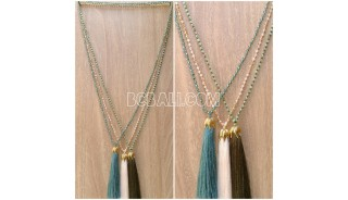 3color pendant tassels necklaces crystal bead bali