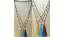 chrome 3color pendant tassels necklaces crystal beaded
