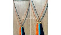 chrome 3color pendant tassels necklaces crystal beading