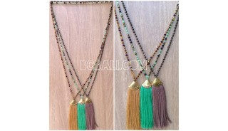 chrome crystal beads tassels necklaces 3color