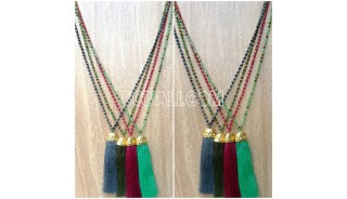 chrome crystal beads tassels necklaces 4color