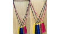 chrome crystal beads tassels necklaces 5color mug