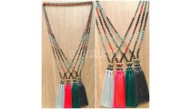 crystal bead stone tassel triangle necklace 4color