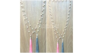 full pearls necklaces long seeds two color tassels