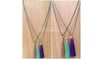 golden chrome 3color pendant tassels necklaces crystal bead