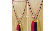 golden chrome pendant tassels necklaces crystal bead