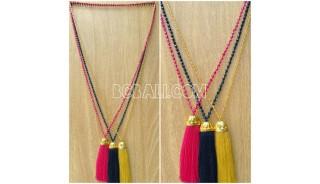 golden chrome pendant tassels necklaces crystal bead
