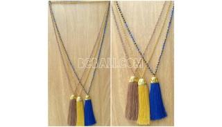 golden chrome pendant tassels necklaces crystal bead 3color