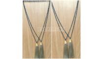 handmade tassel necklace 2color abalone crystal bead