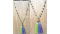 handmade tassel necklace 2color design crystal bead