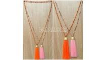 handmade tassel necklace 2color design golden bead