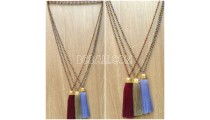 handmade tassel necklace antiq design crystal 3color