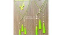 light green tassels necklace water of pearl original