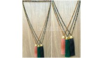 long seeds crystal tassel necklace golden chrome