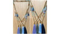 mala wooden beaded stone tassel pendant charms