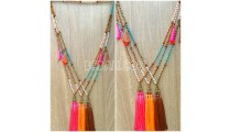 mala wooden beads stone tassels triangle pendant