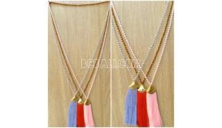 golden tassel pendant crystal beads bali design