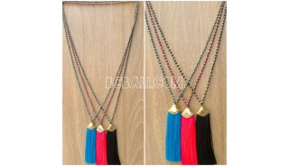 tassel pendant crystal beads bali design golden