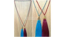 triangle chrome tassels necklaces bead crystal