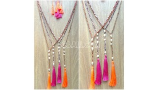 two color original water pearls necklaces tassel