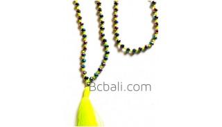 fashion necklace long strand crystal beads bali