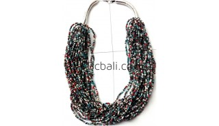 mixed glass beads multiple strand necklaces