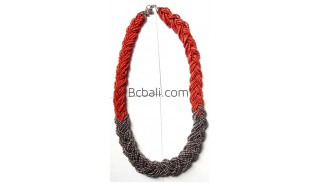 multiple glass bead layers necklaces wired two color