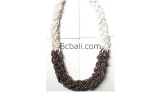 multiple glass beaded layers necklaces wire two color