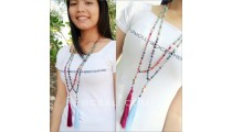 glass beads tassels necklaces handmade with ganitri
