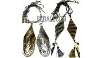 4 designs crystal beaded miyuki pendant necklaces