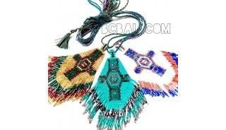 3color diamond shape miyuki glass beads necklaces