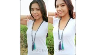 beads stone tassels necklaces handmade bali crystal