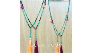 beads turquoise stones tassels necklace fashion