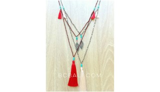 crystal beads charms necklace tassels pendants