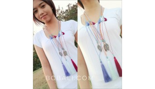 crystal small beads tassels charms necklaces women