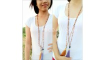 glass beads long seeds tassels necklaces pendant
