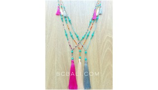 glass beads with turquoise tassels necklaces long