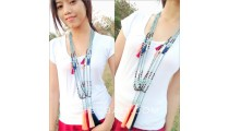 long seeds turquoise beads tassels pendant fashion design
