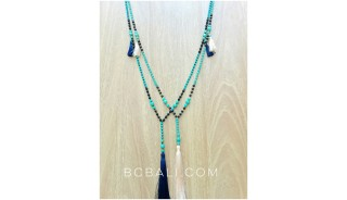 tassels turquoise bead new handmade necklaces